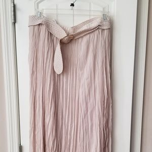 Roz & Ali Pink Blush Belted Maxi Skirt Sz 1x